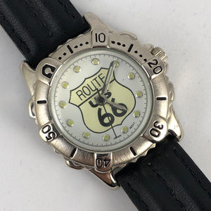 Route 66 Accessories - Route 66 The Mother Road Watch Black Leather